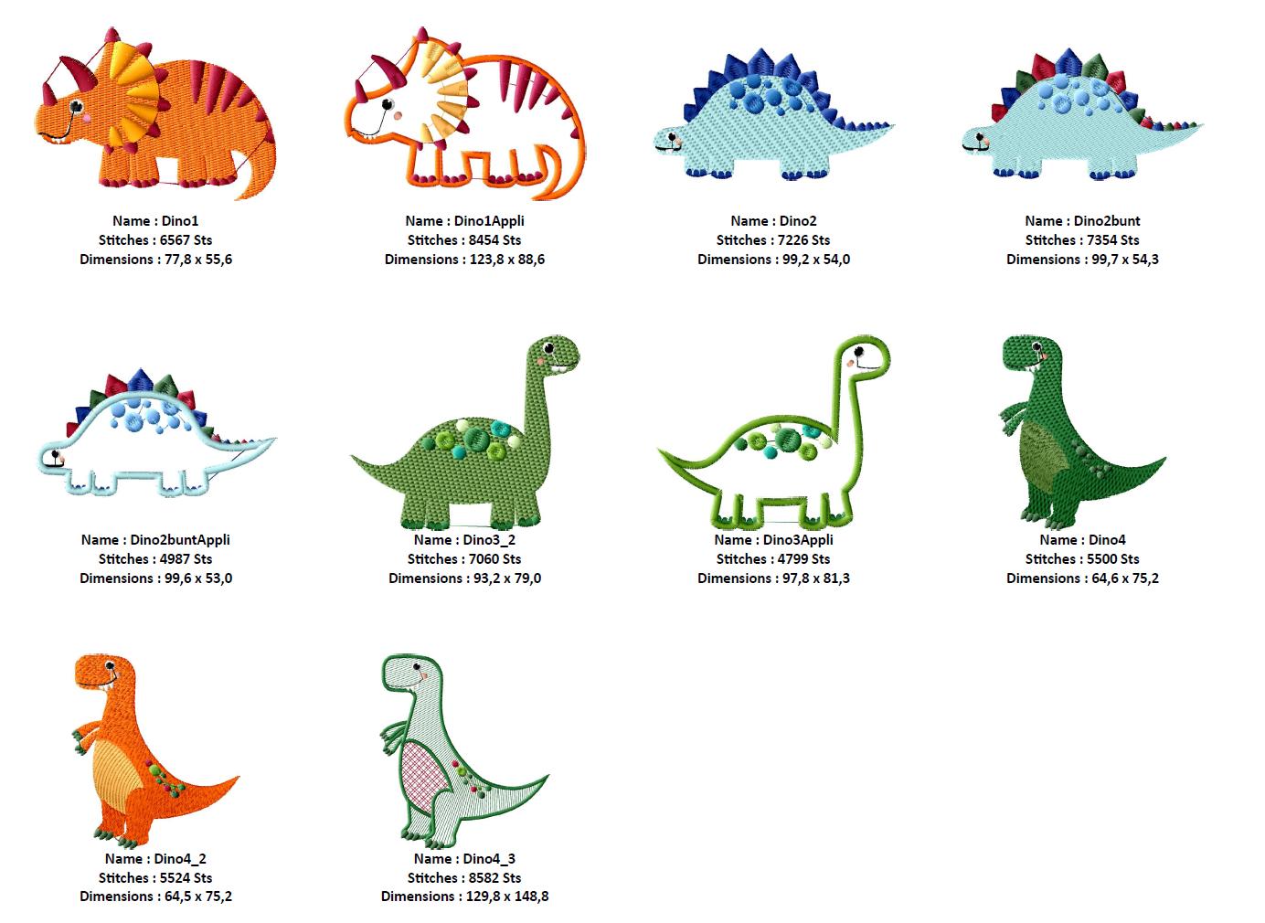Dinosaurier Stickdateien Set Mit 3 Applikationen Digital