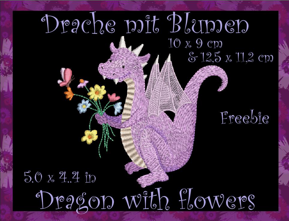 Freebie: Drache mit Blumen Stickdateien 10×10 & 13×12