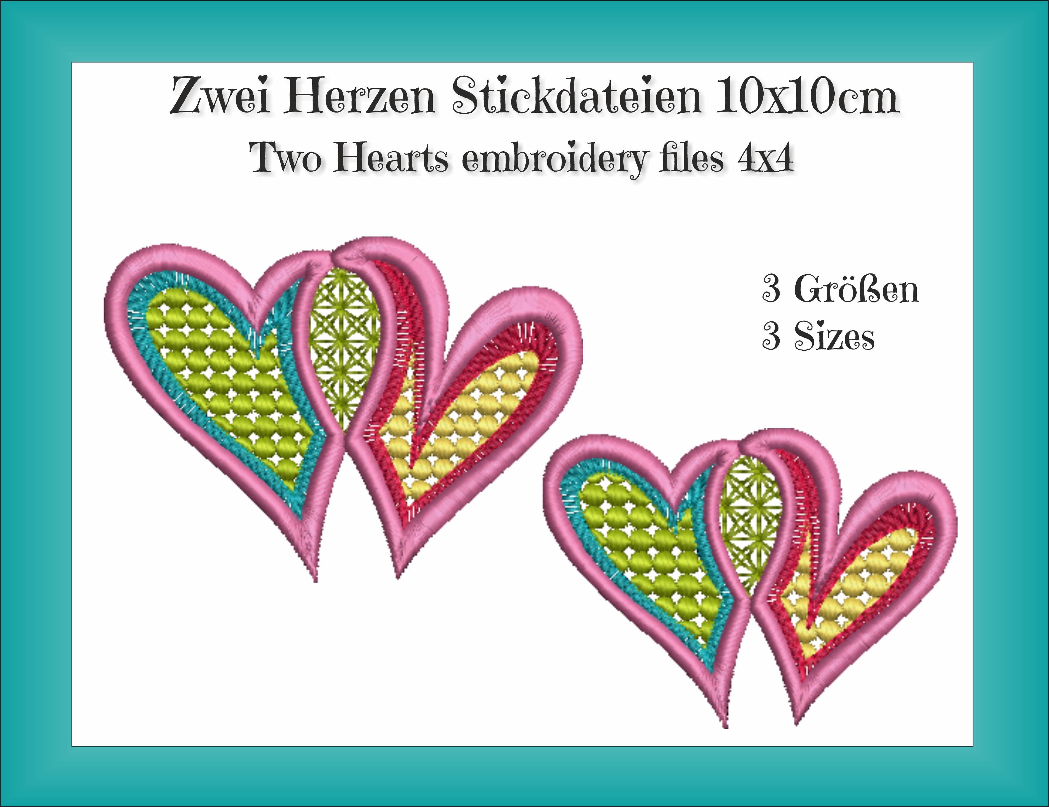 Freebie: Zwei Herzen Stickdateien 10×10